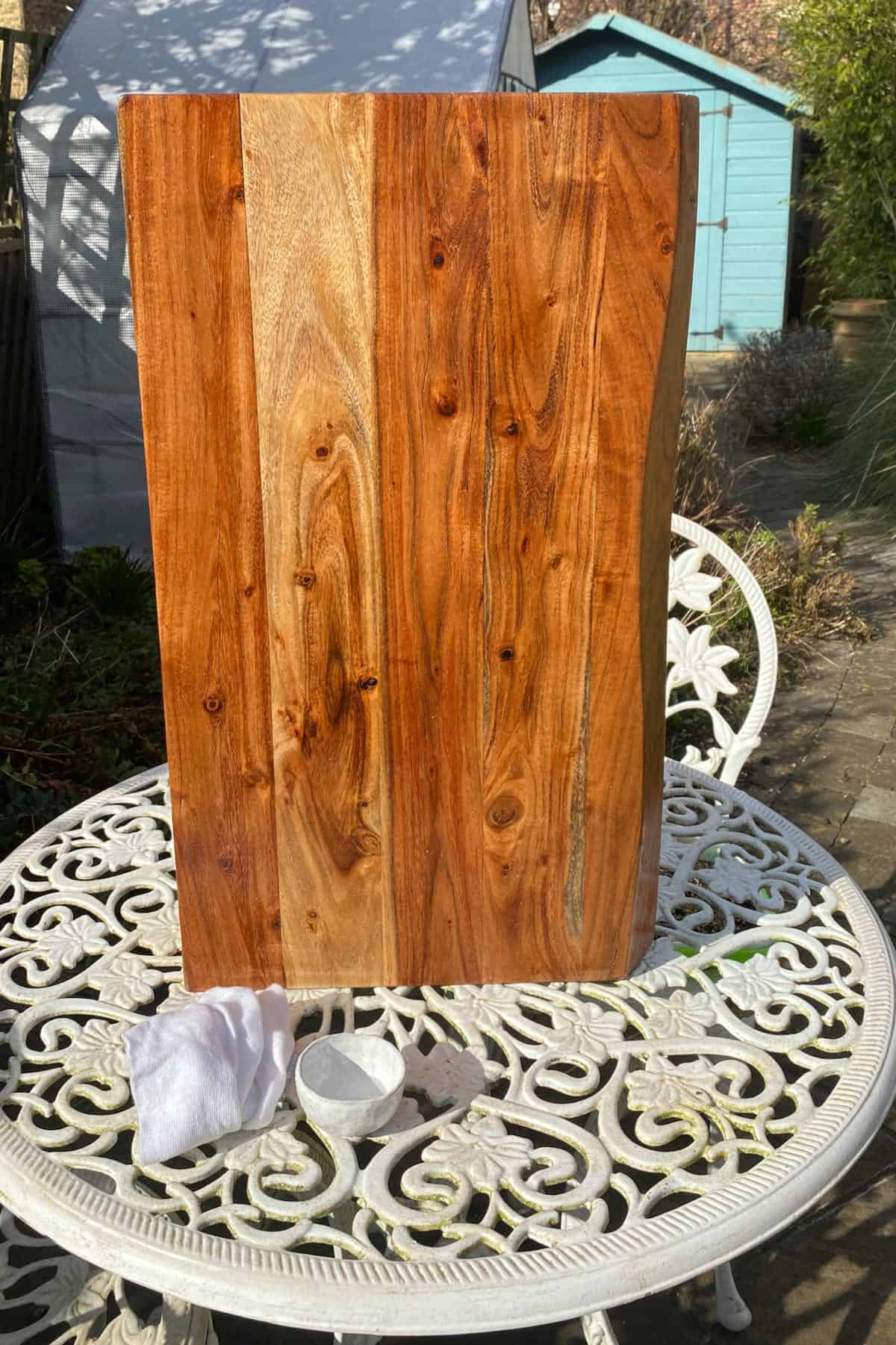 Drying out a wooden board in the sun