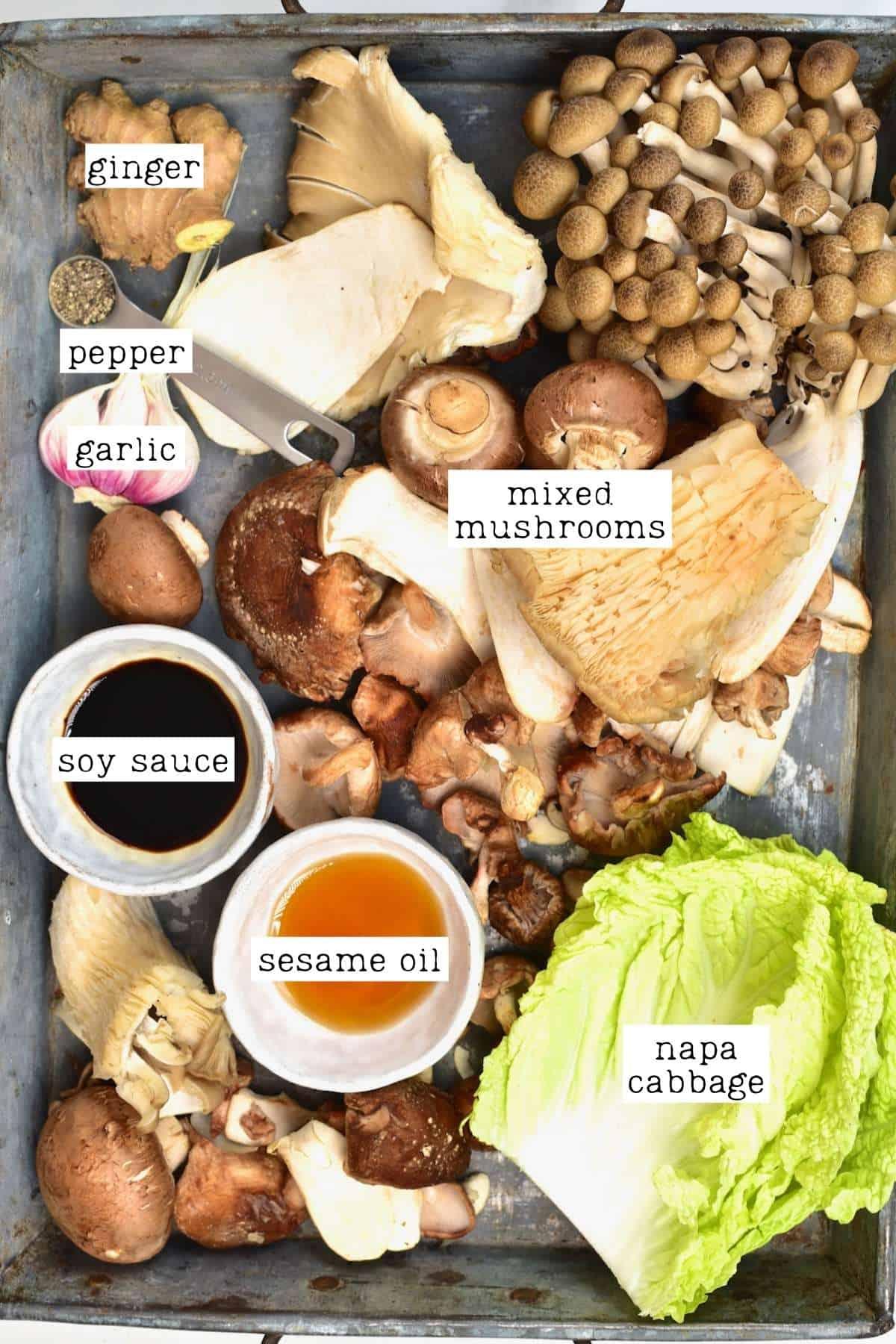 Ingredients for mushroom dumplings