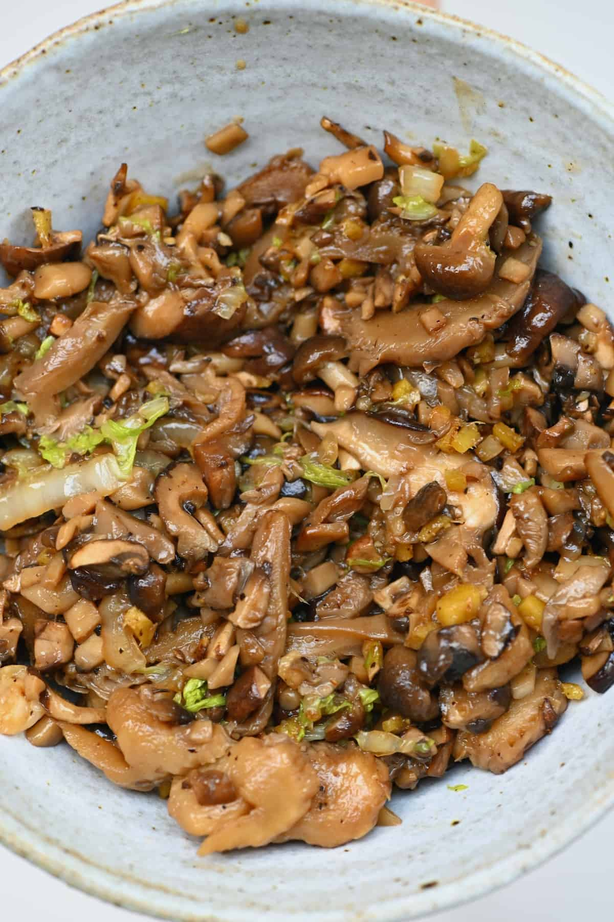 Mushroom filling in a bowl