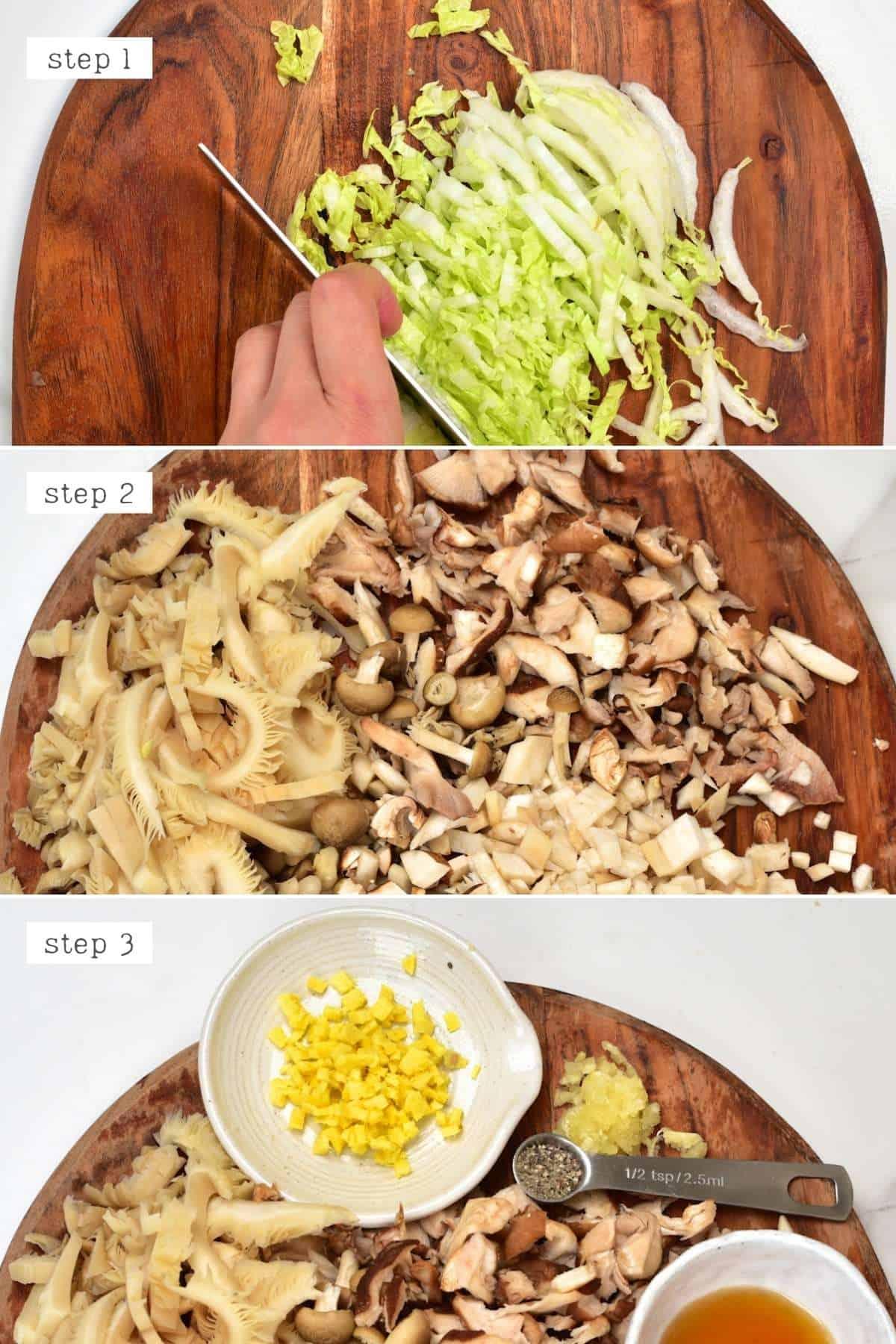 Steps for chopping dumpling ingredients