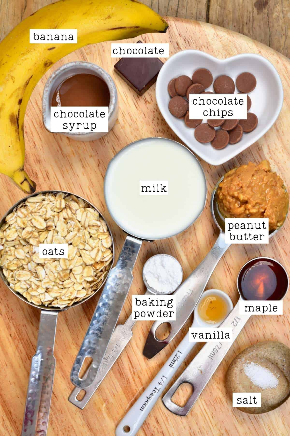 Ingredients for peanut butter oats