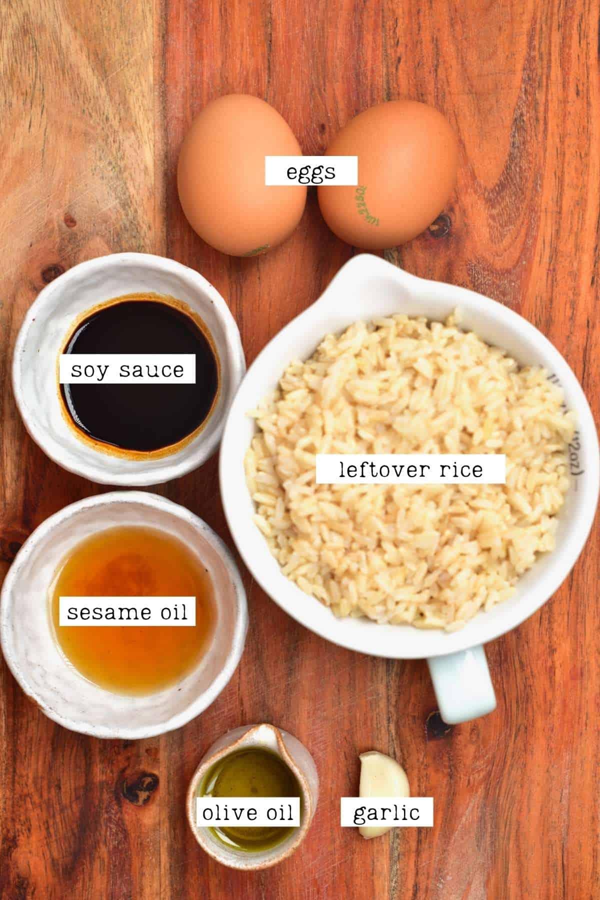 Ingredients for rice breakfast