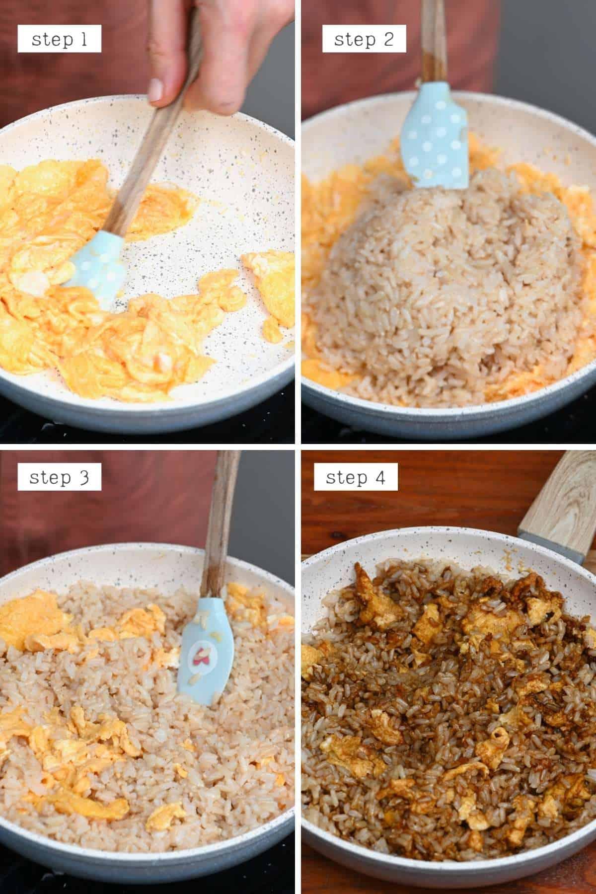 Steps for preparing egg rice breakfast