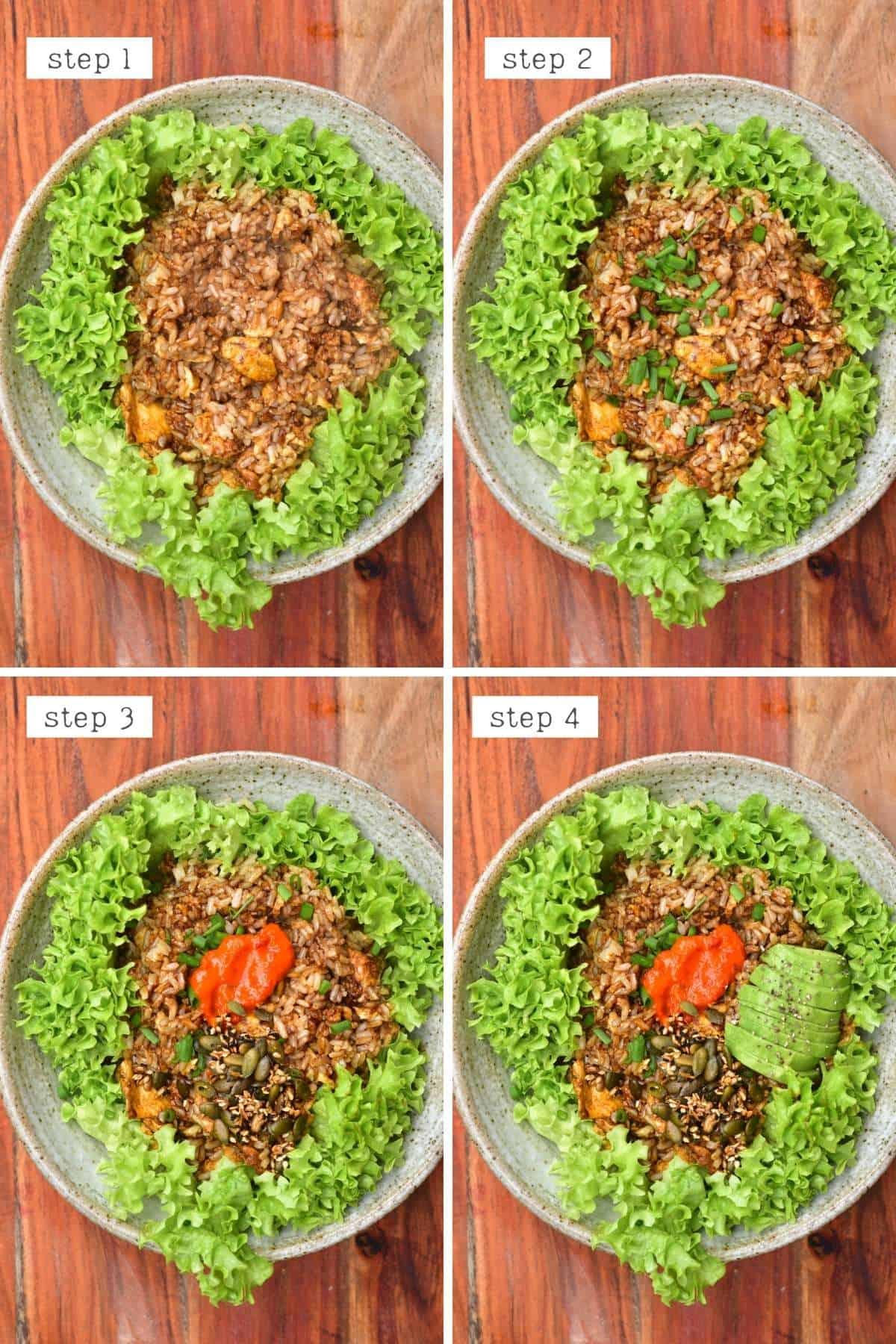 Steps for serving rice breakfast