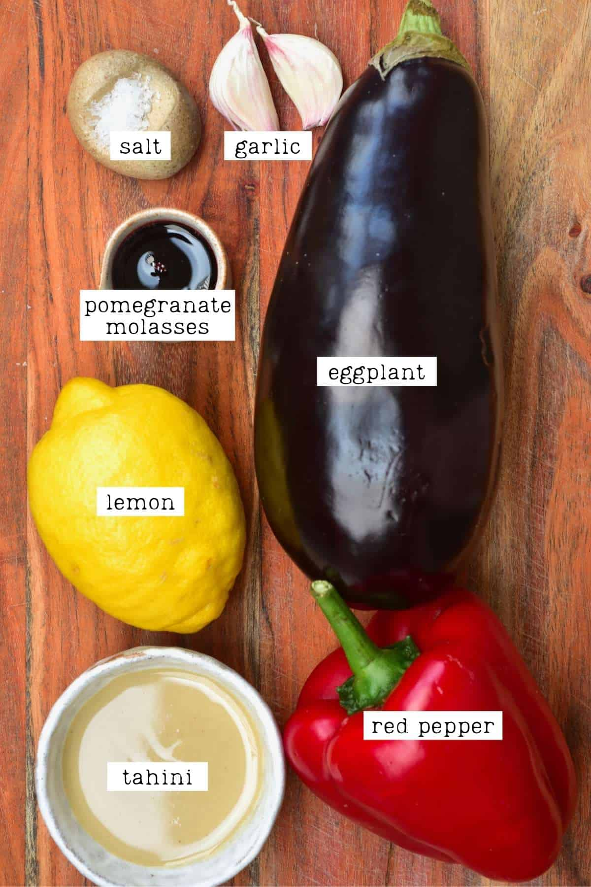 Ingredients for red pepper eggplant dip
