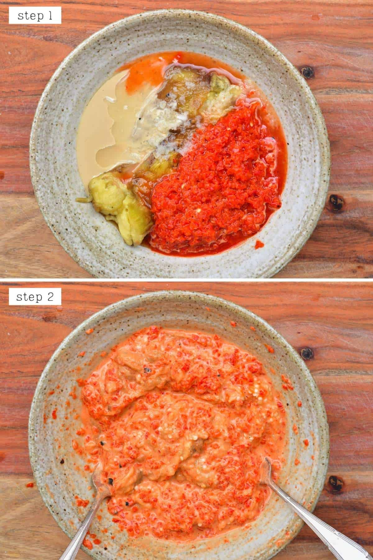 Steps for making roasted red pepper eggplant dip