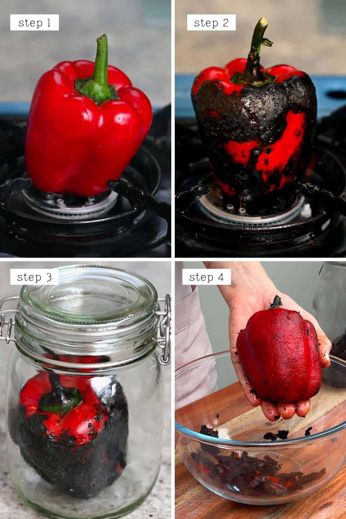 Steps for making roasted red pepper