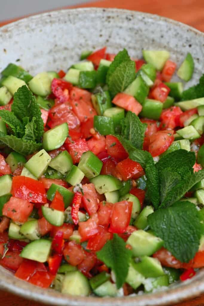 Close up of tomato and cucumber salad