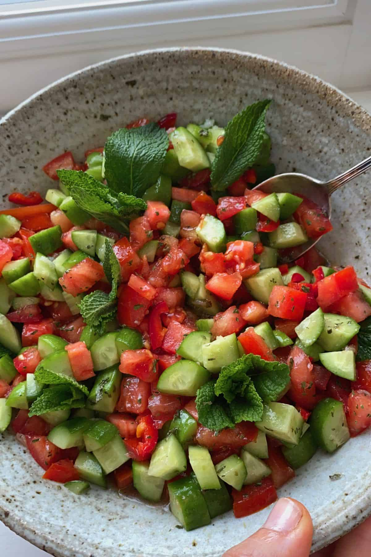 A bowl of tomato and cucumber salad with a spoon