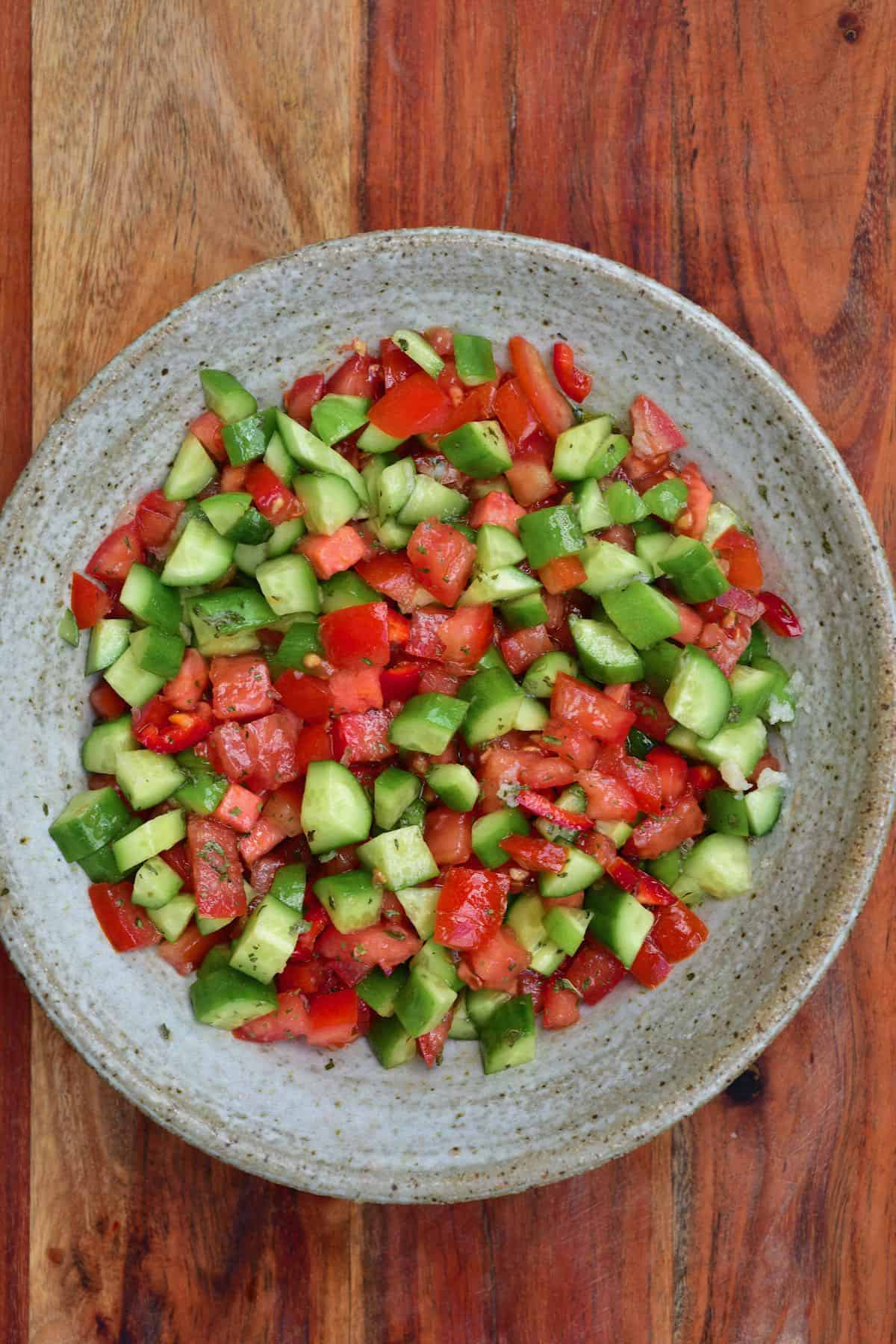 Mixed tomato and cucumber salad