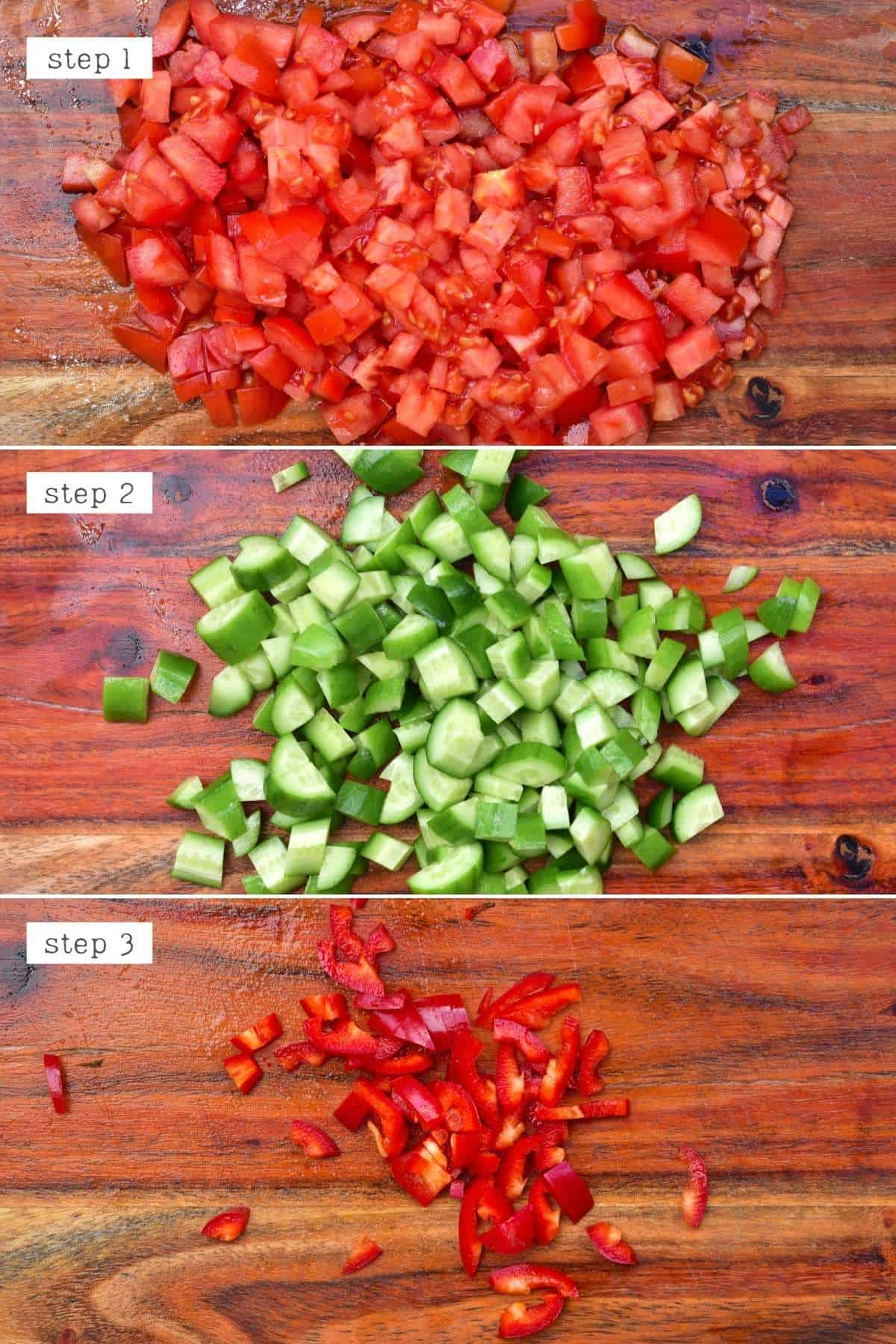 Steps for chopping ingredients