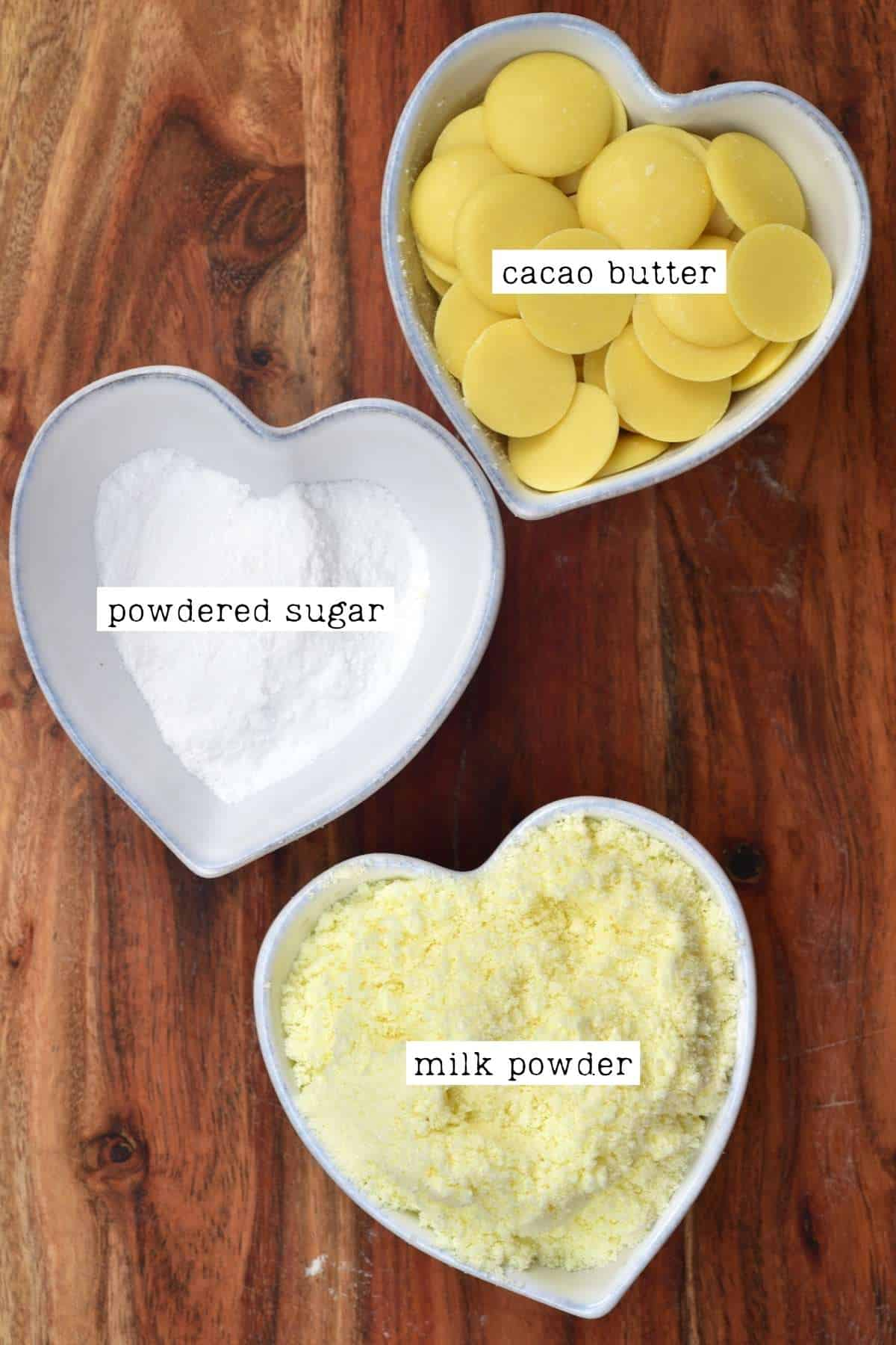 Ingredients for white chocolate