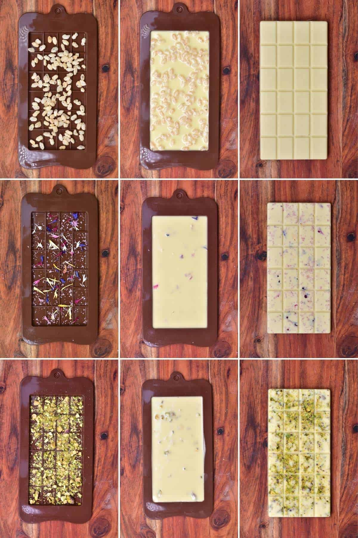 White chocolate with different toppings