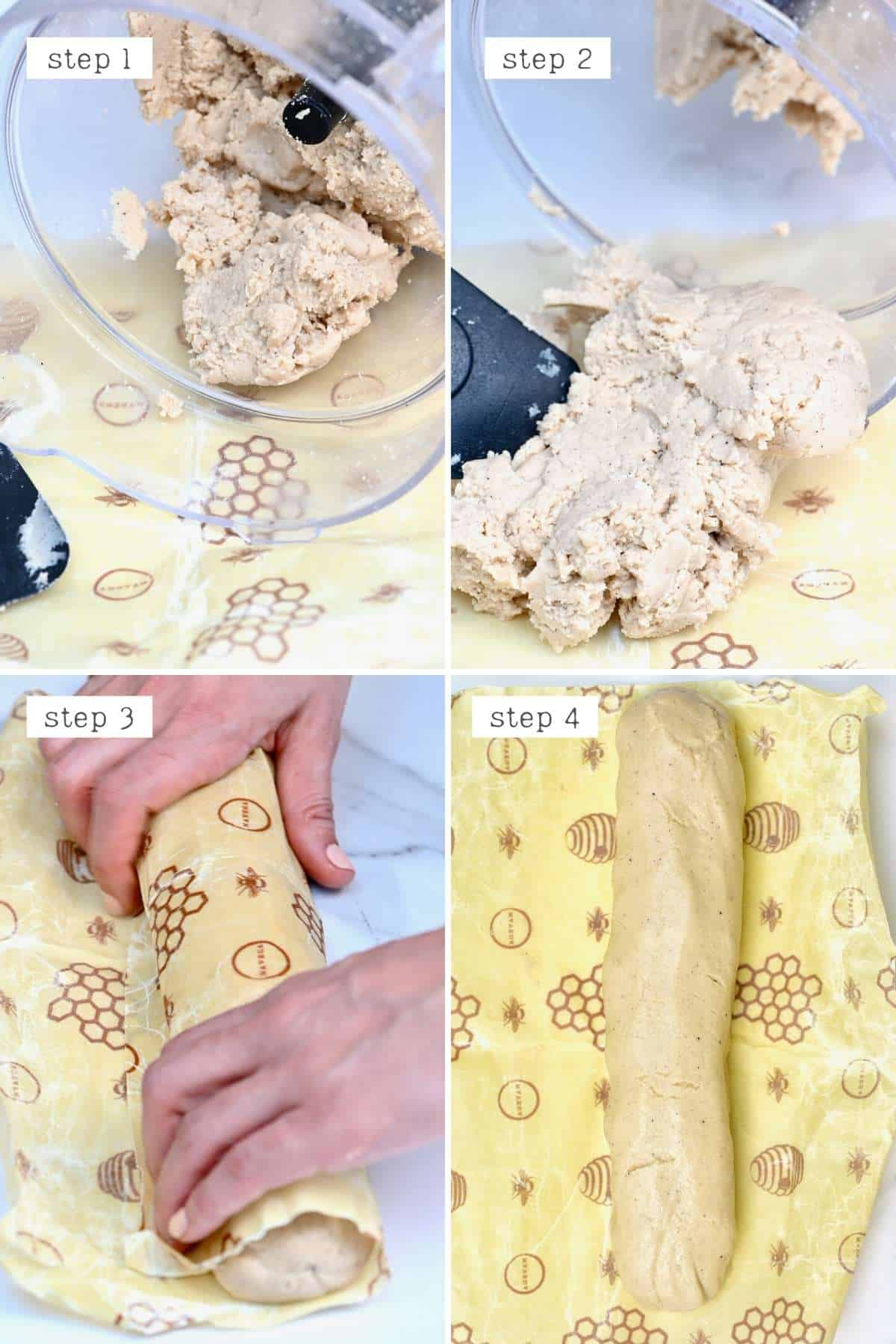 Steps for rolling almond paste