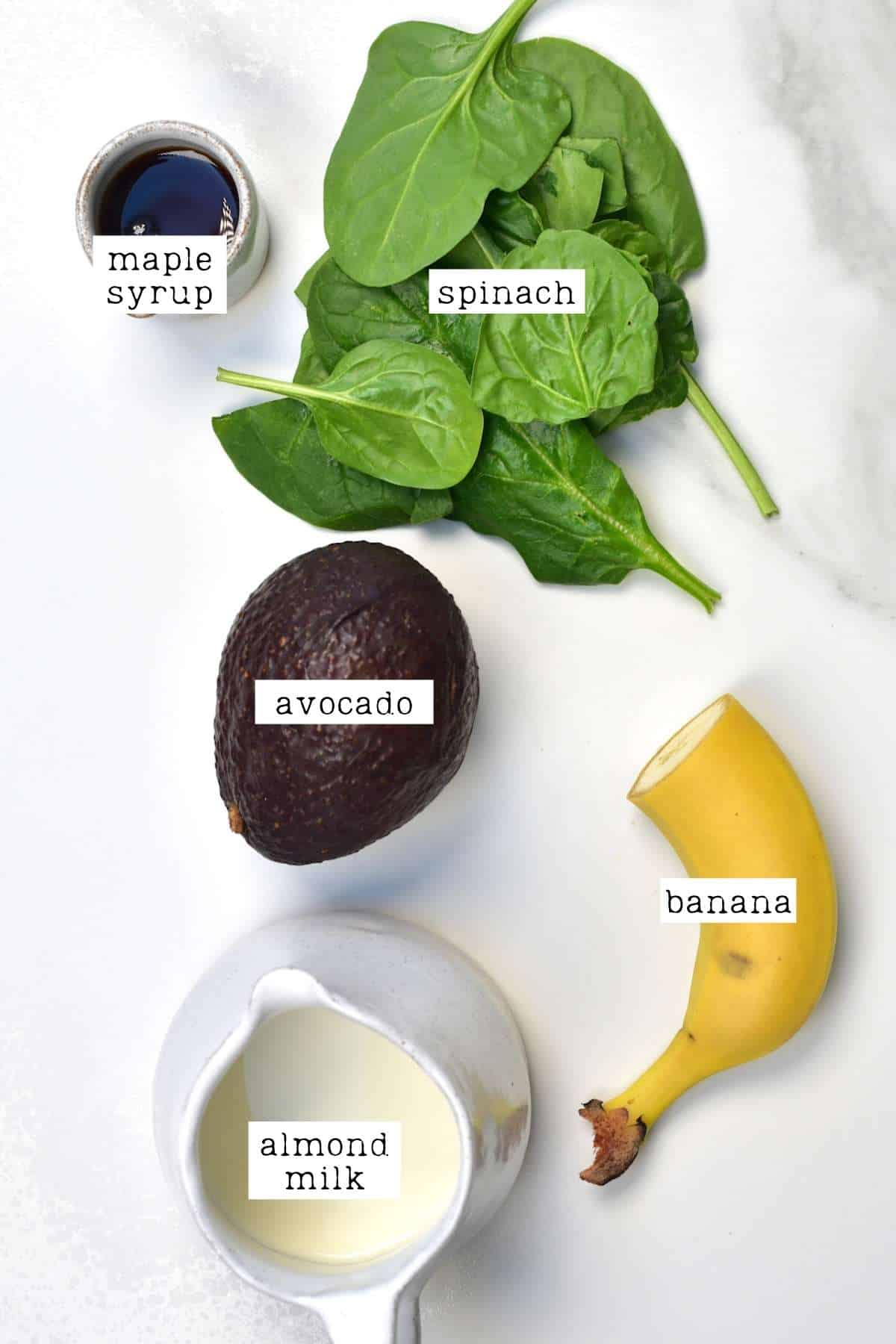 Ingredients for avocado smoothie