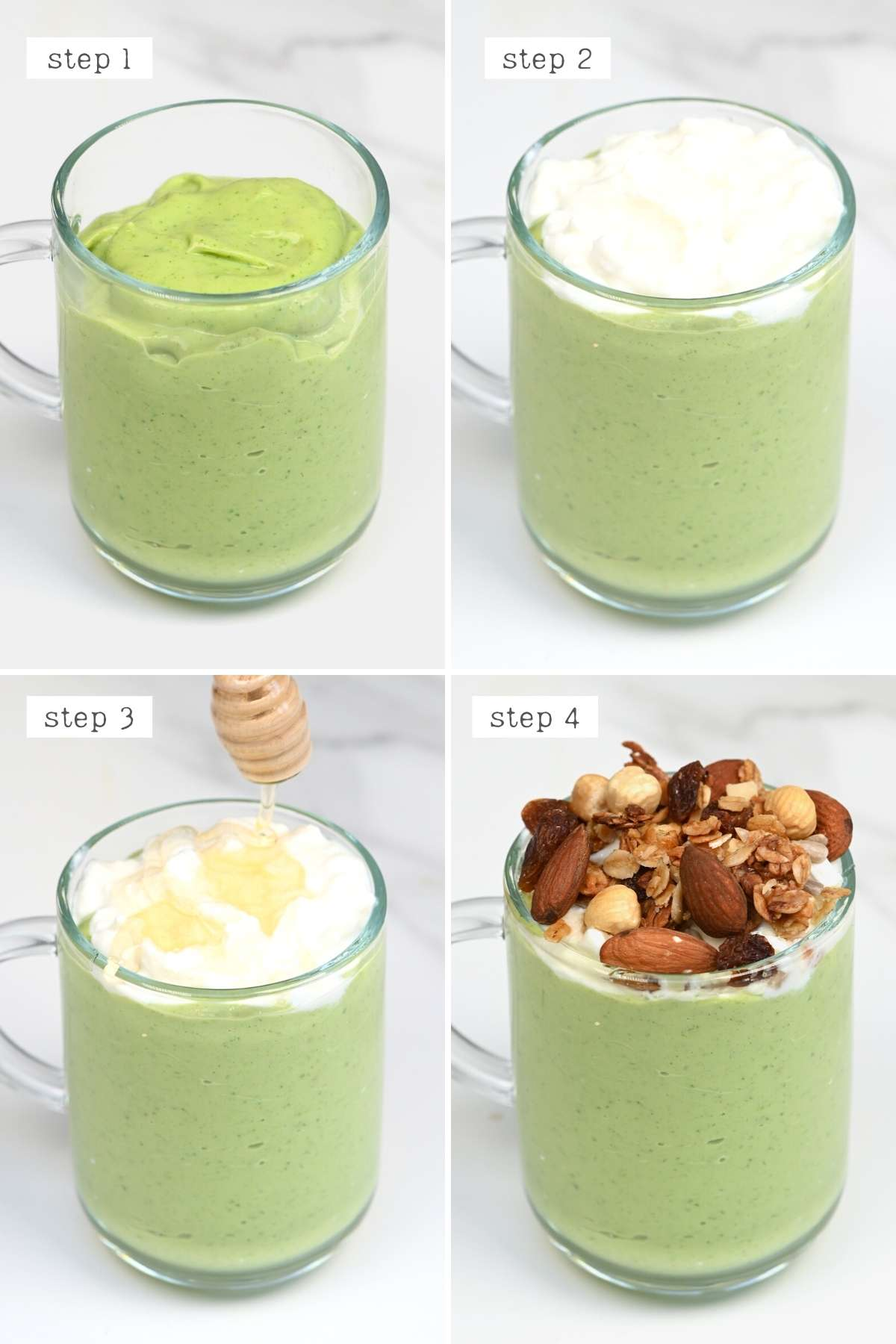 Steps for topping an avocado smoothie