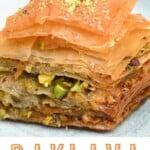 A piece of homemade pistachio baklava