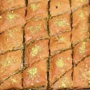 Homemade baklava in its baking pan