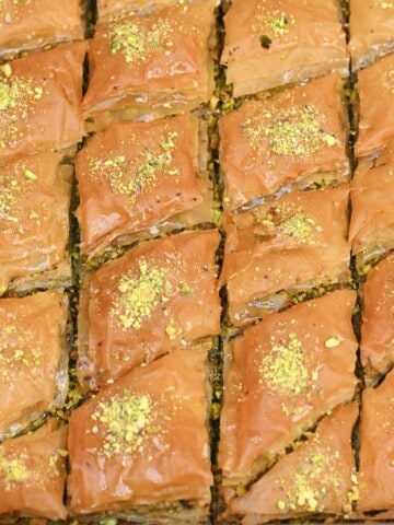 Homemade baklava in its baking pan
