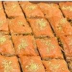 Homemade pistachio baklava cut into diamonds