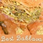A slice of homemade pistachio baklava