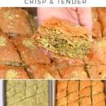 Steps for making pistachio baklava