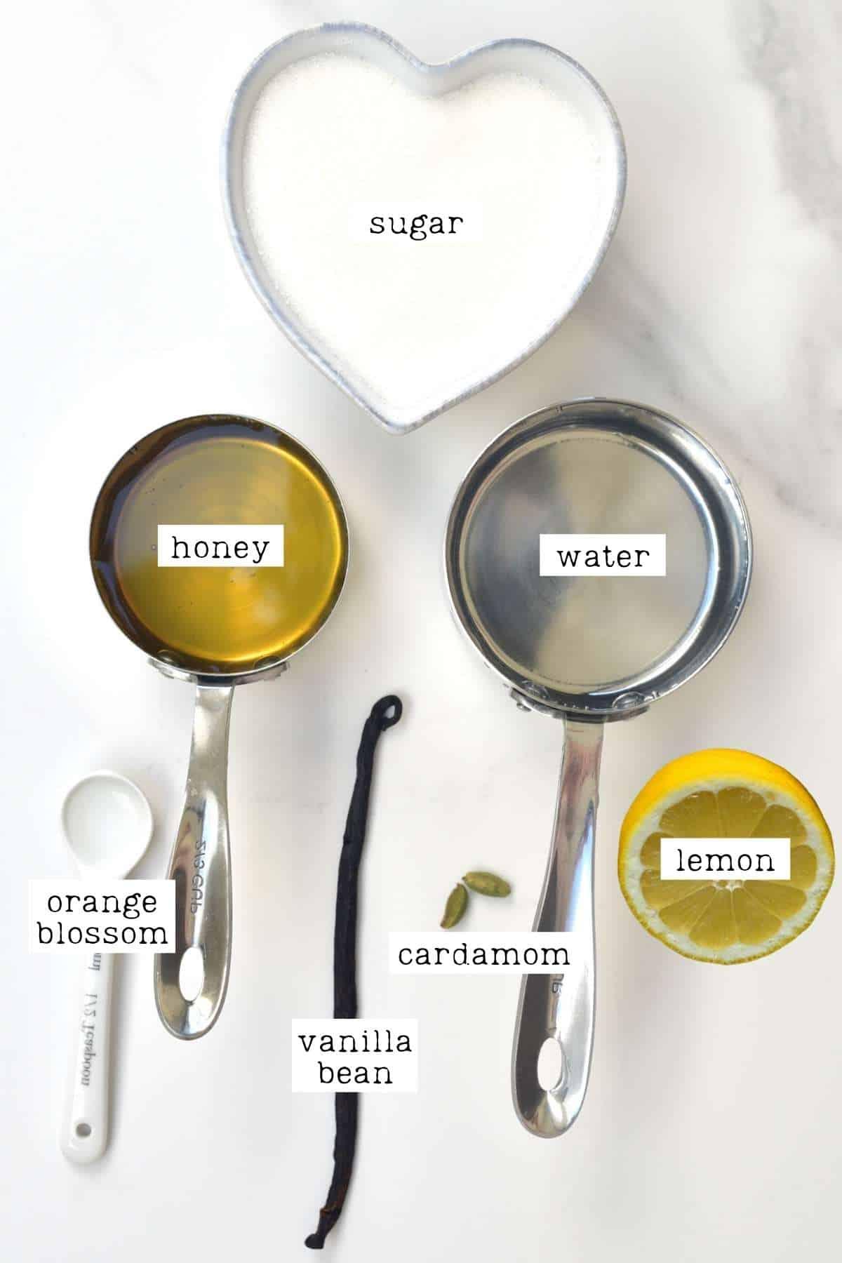 Ingredients for baklava sugar syrup