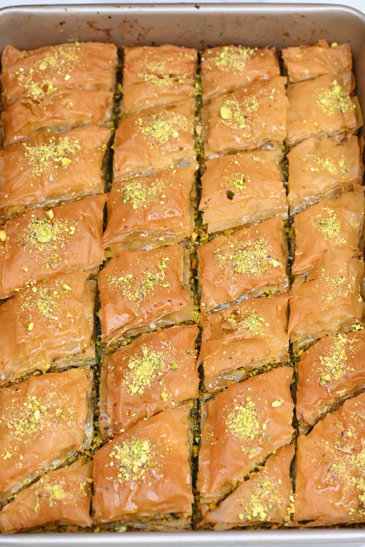 Freshly baked baklava in a pan