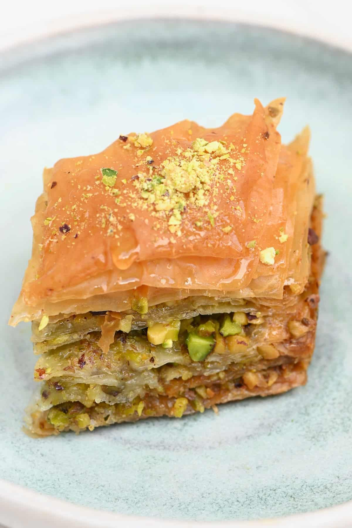 A slice of baklava in a plate