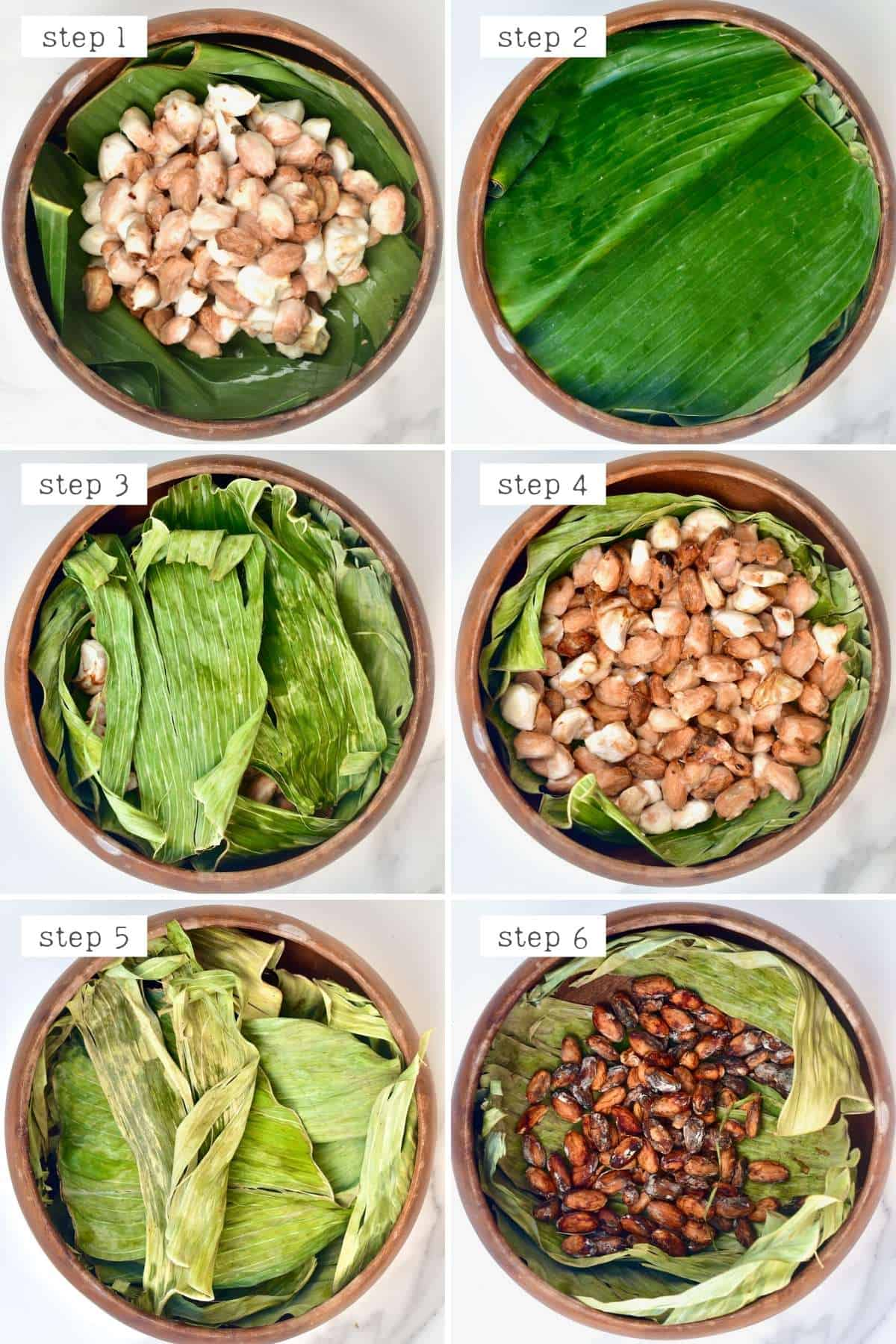 Steps for fermenting cacao beans with banana leaves