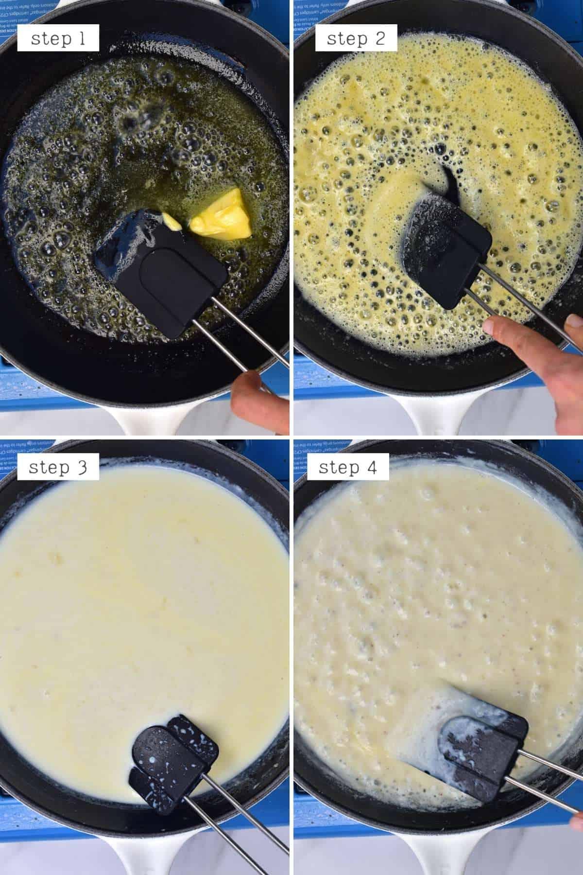 Steps for making bechamel sauce