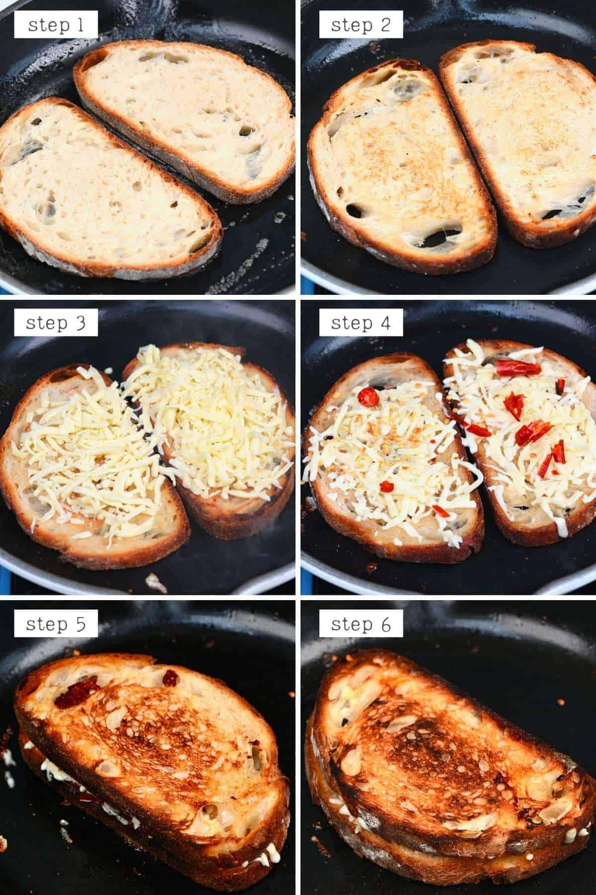 Steps for making cheese toastie