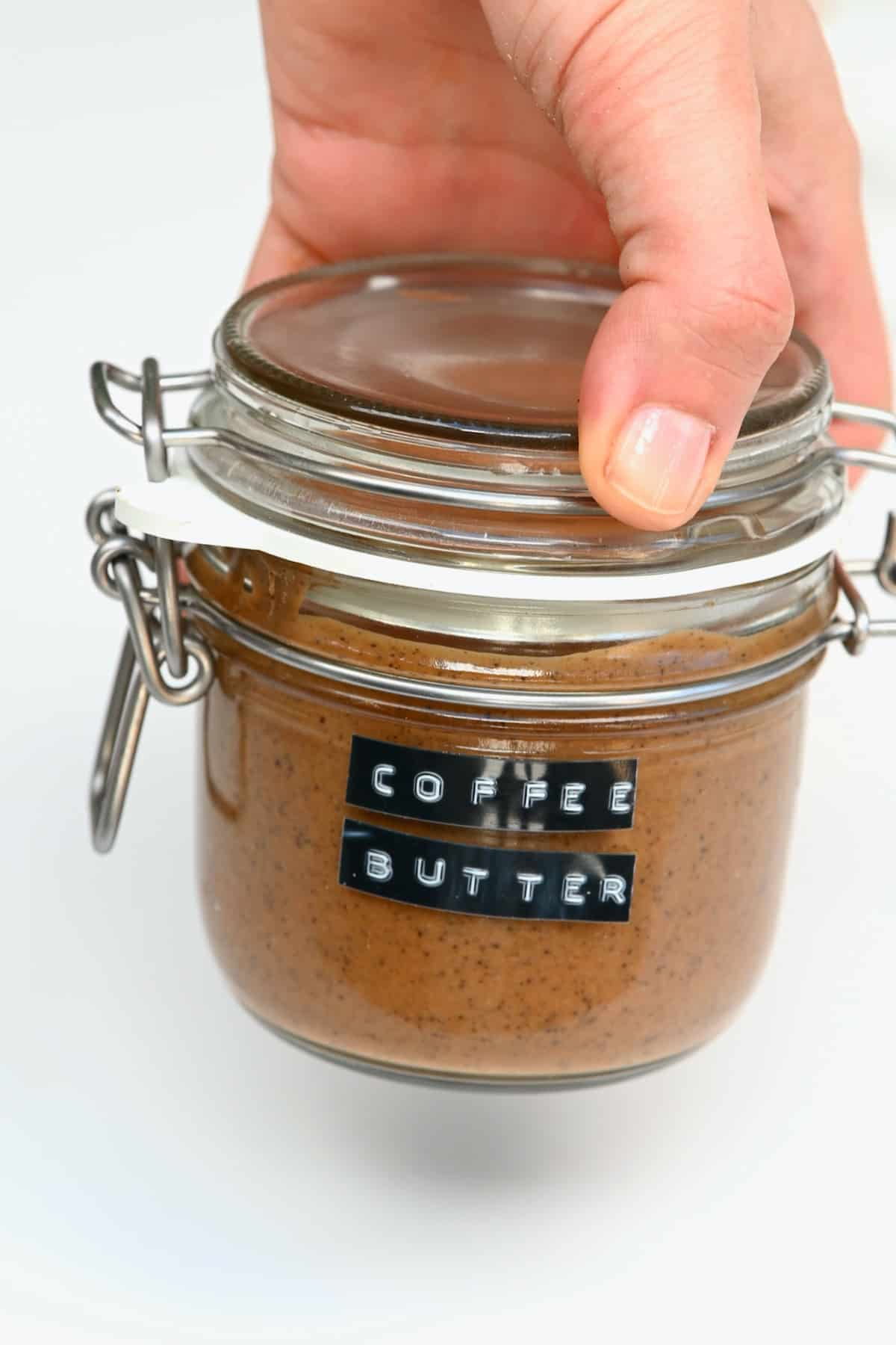 A jar with coffee butter