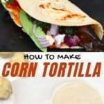Homemade corn tortilla