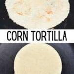 Cooking homemade corn tortilla