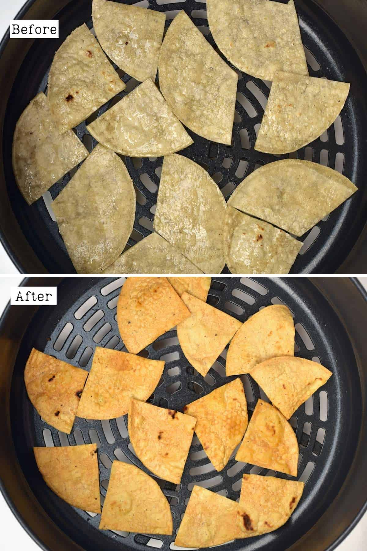 Before and after air frying tortilla chips
