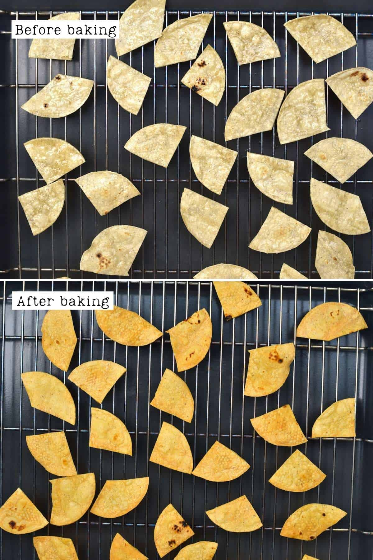 Before and after baking tortilla chips