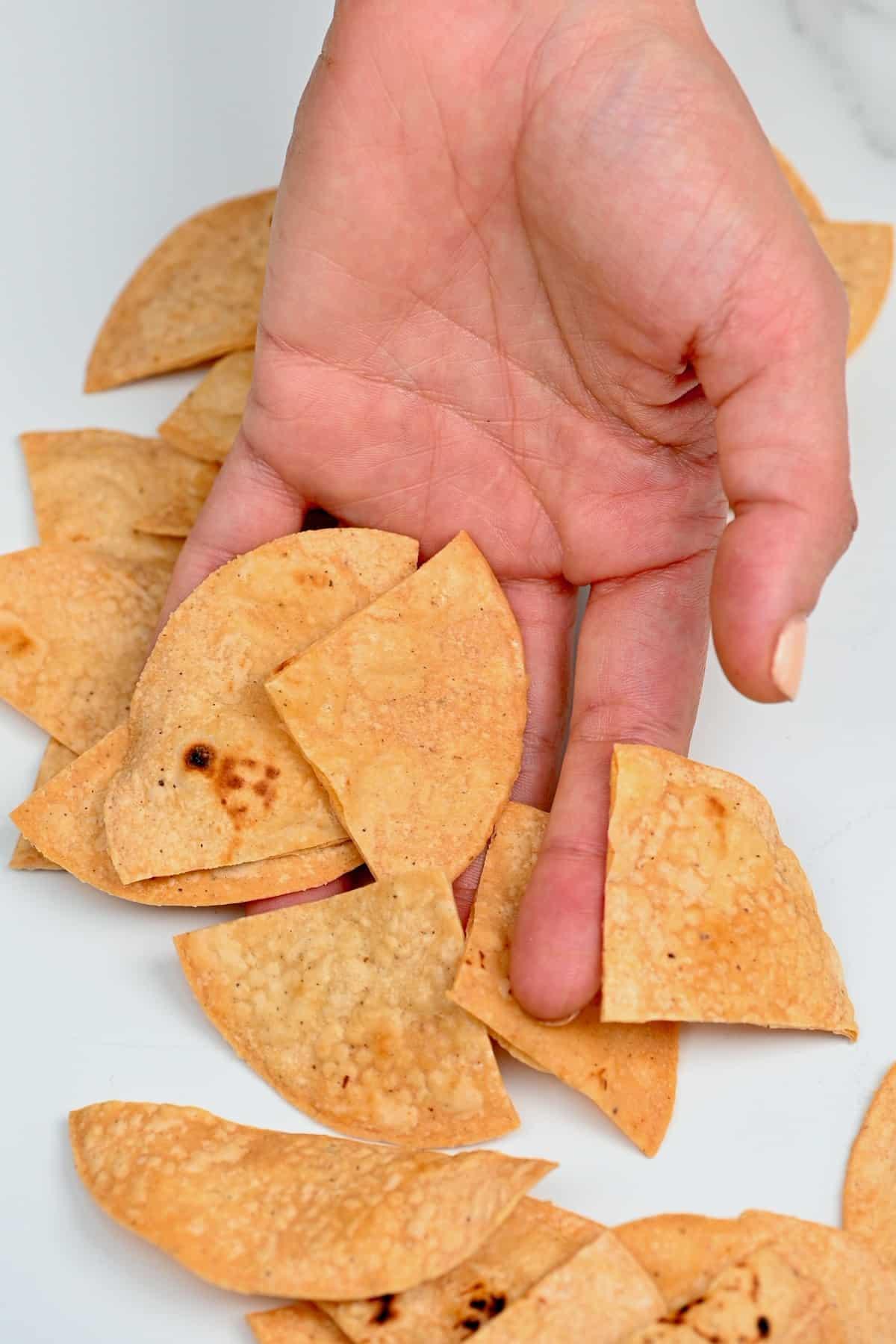 Hand holding corn tortilla chips
