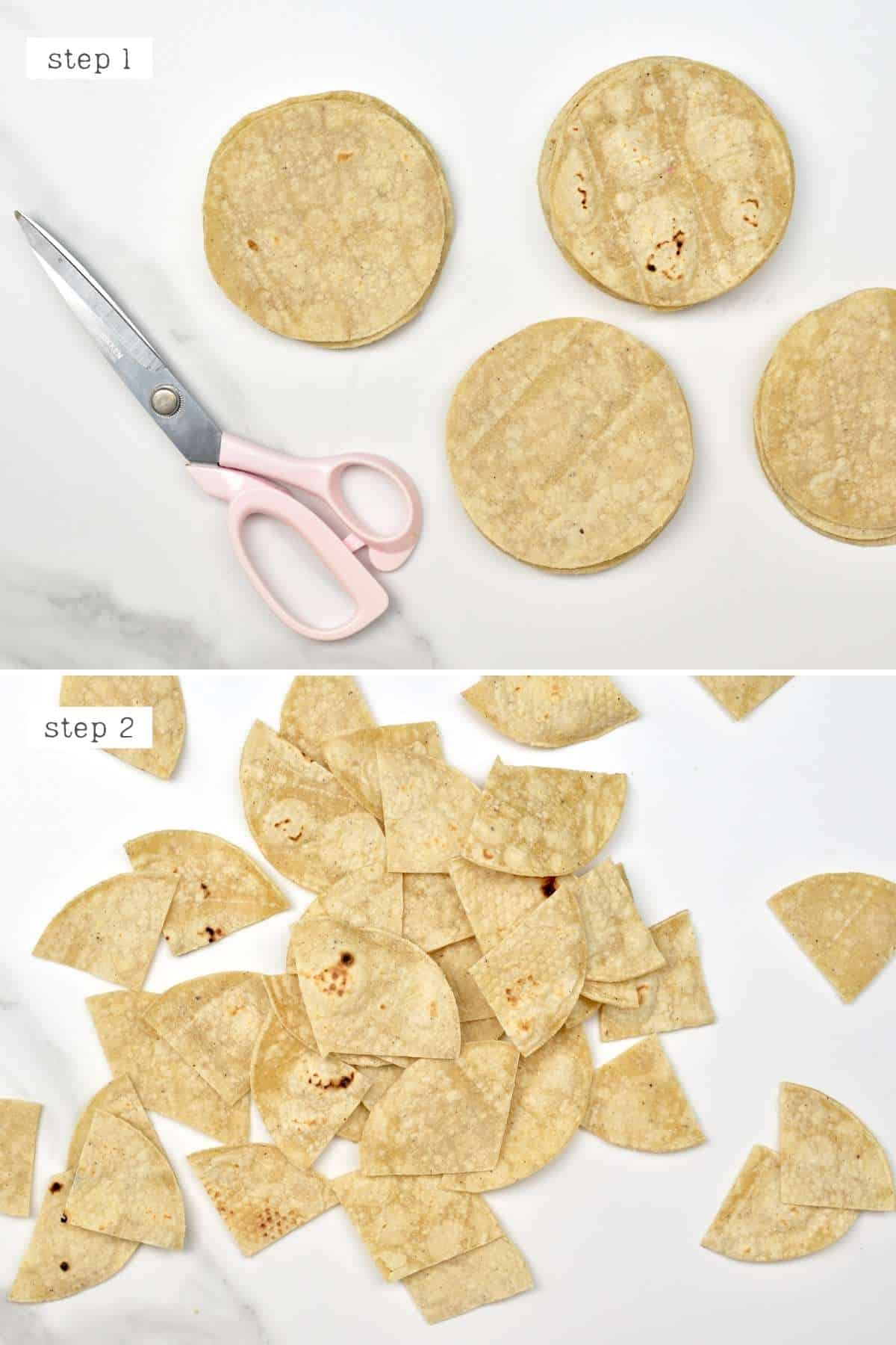 Steps for cutting tortilla chips