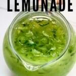 A pitcher with fresh cucumber lemonade