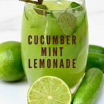 Cucumber and lime lemonade in a glass
