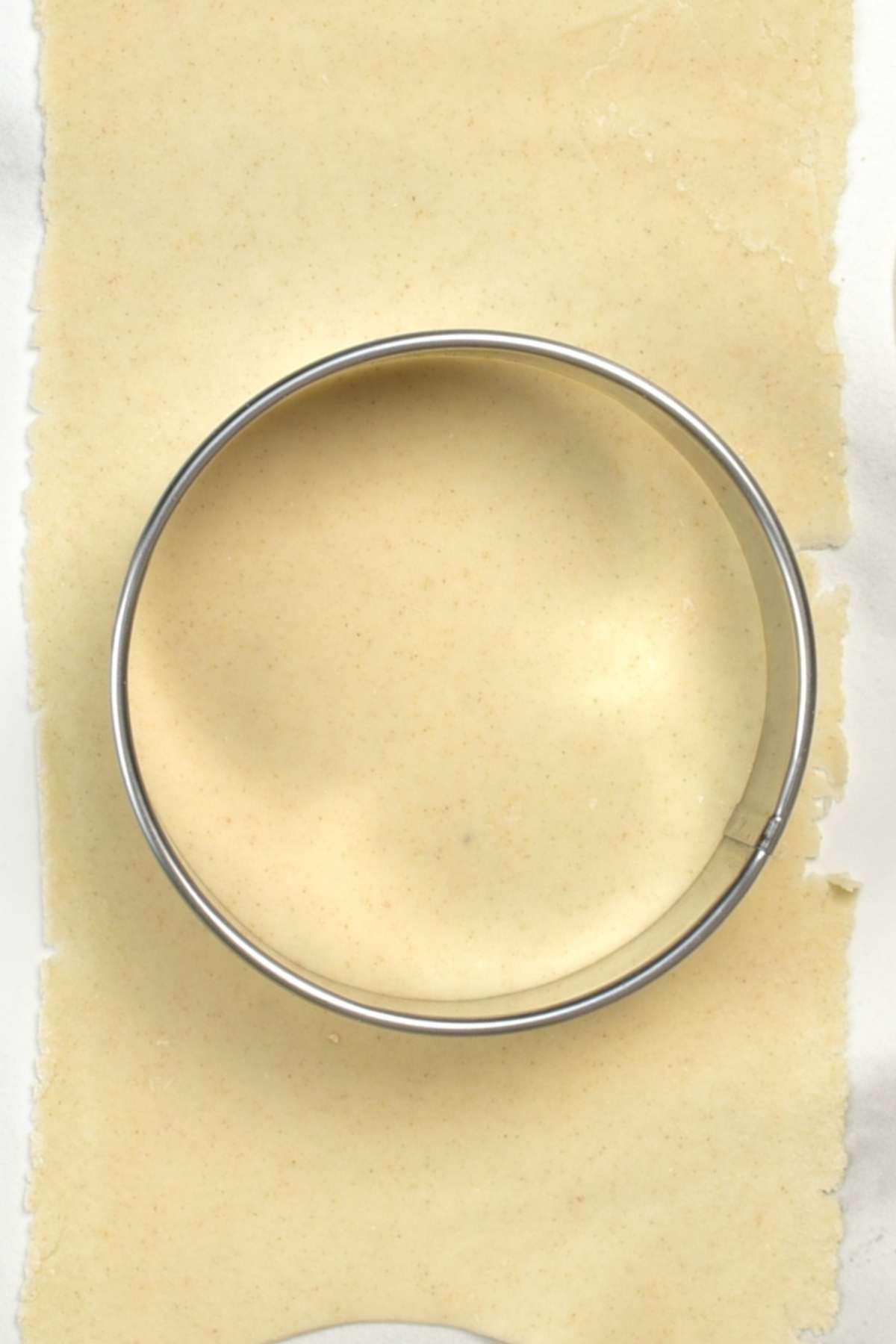 Cutting a dumpling wrapper
