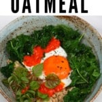 Savory oatmeal topped with egg