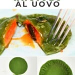 Egg ravioli made with green pasta dough