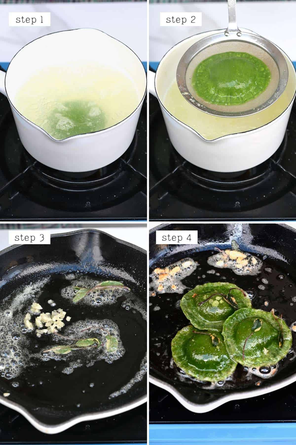 Steps for cooking egg ravioli