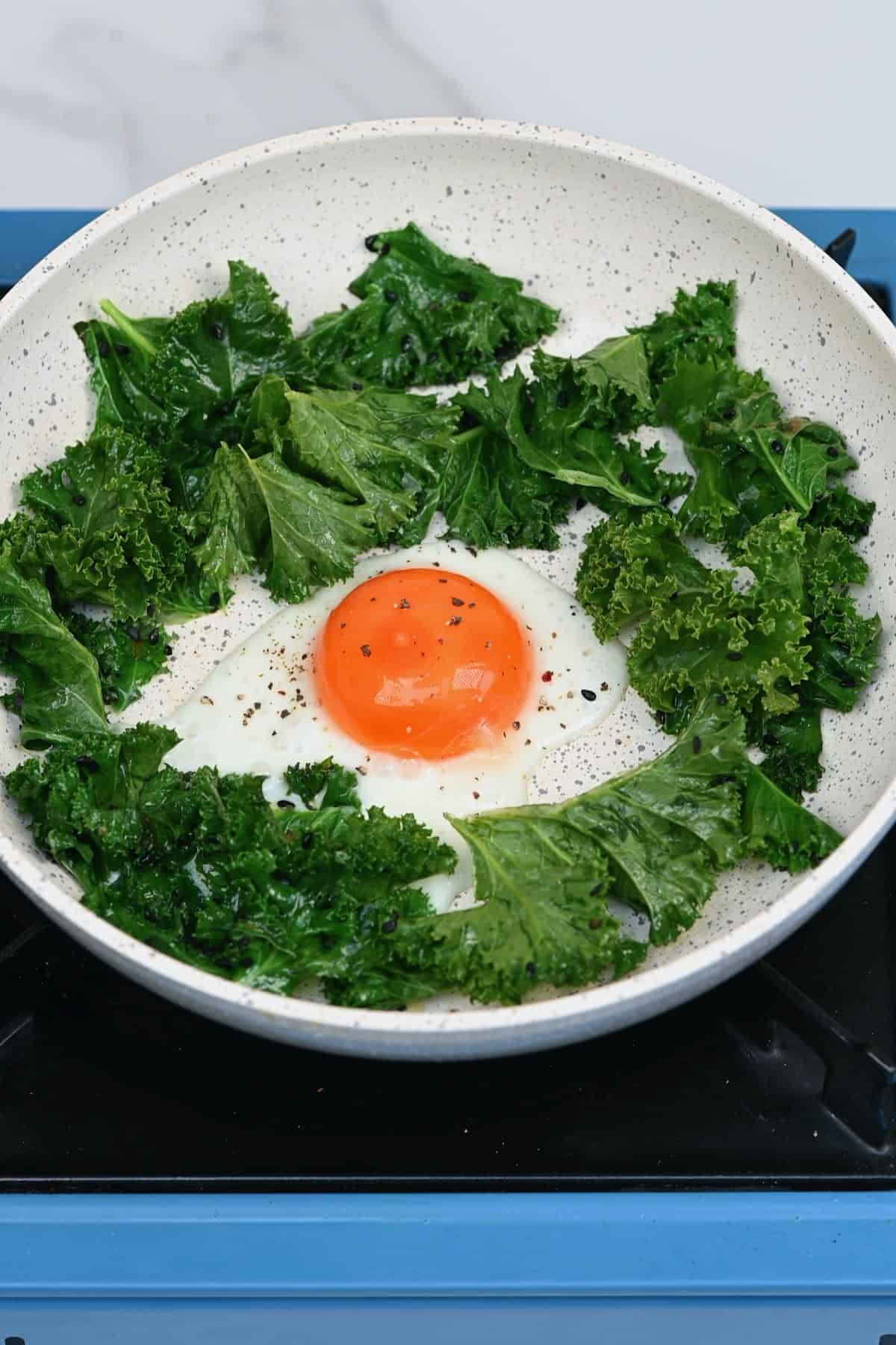 Cooking an egg and some kale in a pan