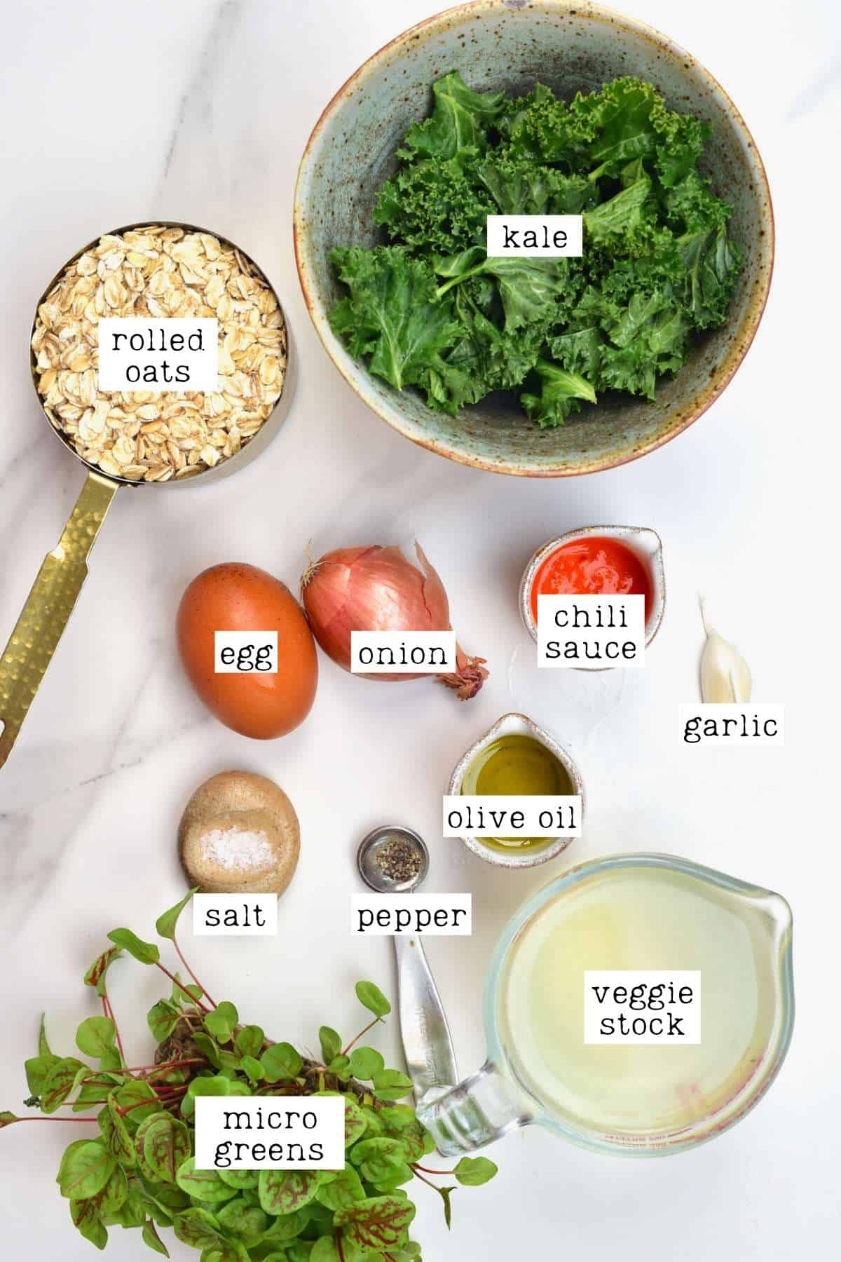 Ingredients for egg oatmeal