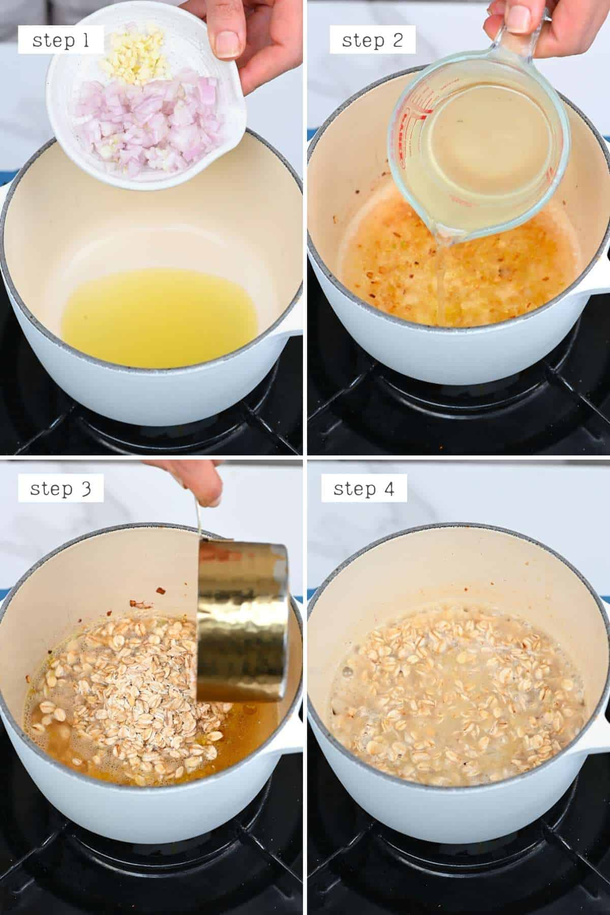 Steps for cooking savory oats