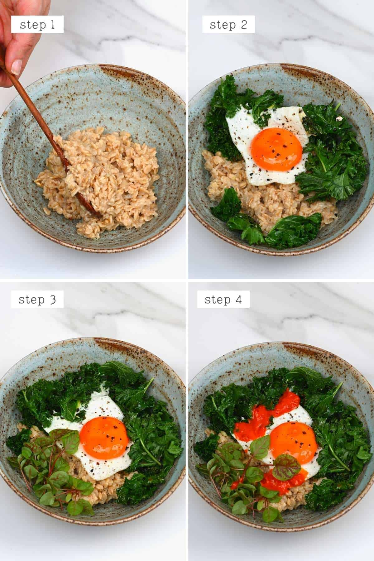 Steps for preparing egg oatmeal