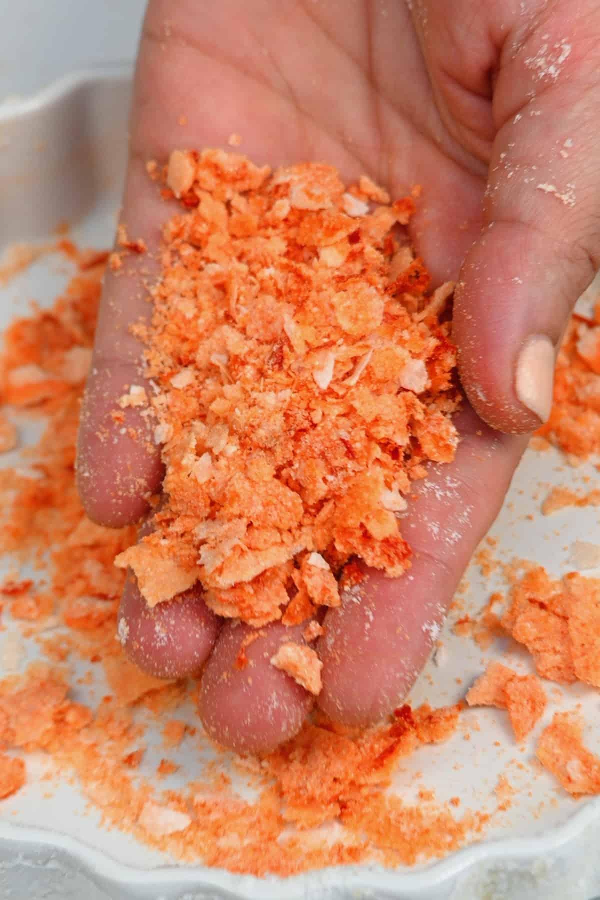 A handful of chili flaky salt